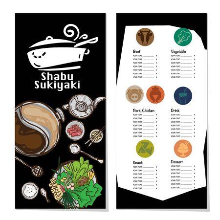 menu shabu sukiyaki restaurant template design graphic objects Stock fotó - 138193253
