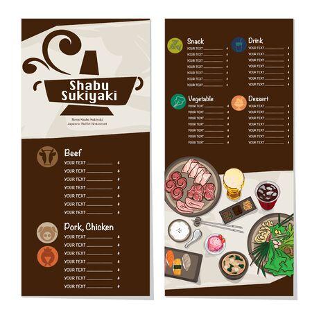 menu shabu sukiyaki restaurant template design graphic objects Stock fotó - 138075109