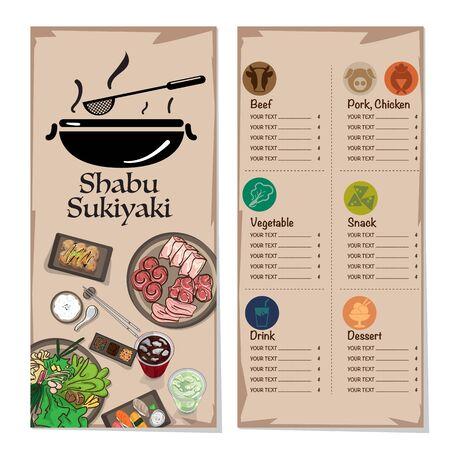 menu shabu sukiyaki restaurant template design graphic objects Stock fotó - 138075051