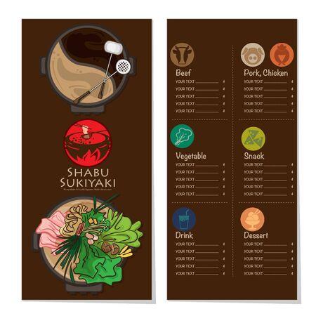 menu shabu sukiyaki restaurant template design graphic objects Stock fotó - 138154061