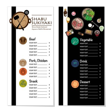 menu shabu sukiyaki restaurant template design graphic objects Stock fotó - 138154773