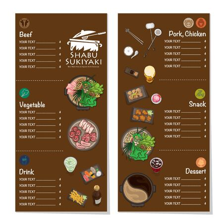 menu shabu sukiyaki restaurant template design graphic objects Stock fotó - 138154125