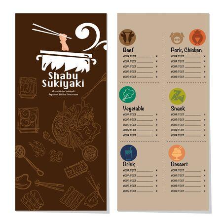 menu shabu sukiyaki restaurant template design graphic objects Stock fotó - 138348456