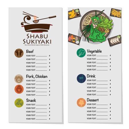 menu shabu sukiyaki restaurant template design graphic objects Stock fotó - 138249478