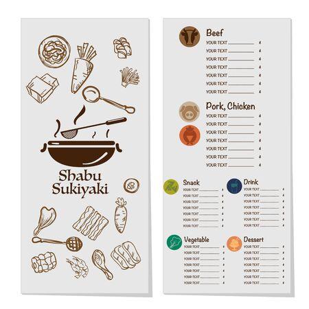 menu shabu sukiyaki restaurant template design graphic objects Stock fotó - 138244419