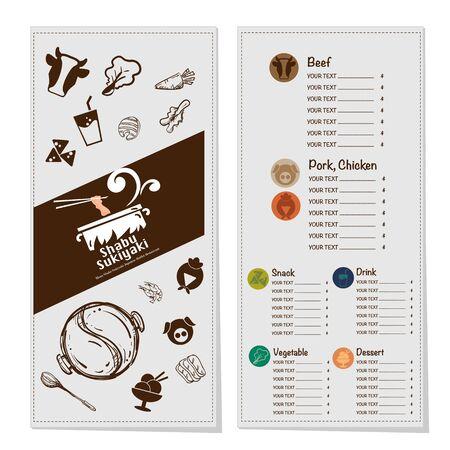 menu shabu sukiyaki restaurant template design graphic objects Stock fotó - 138348473