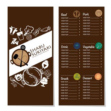 menu shabu sukiyaki restaurant template design graphic objects Stock fotó - 138348495