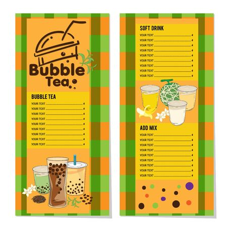 bubble tea menu graphic template Stock fotó - 138343500