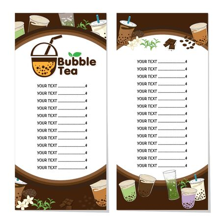 bubble tea menu graphic template Stock fotó - 138343550