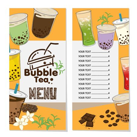 bubble tea menu graphic template Stock fotó - 138343774