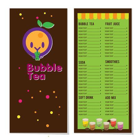 bubble tea menu graphic template Stock fotó - 138625203