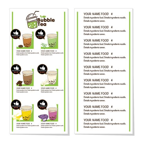bubble tea menu graphic template Stock fotó - 138625267