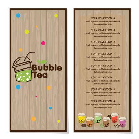 bubble tea menu graphic template Stock fotó - 138694855