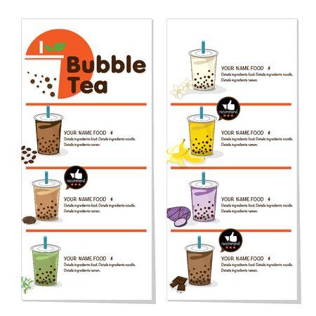 bubble tea menu graphic template Illusztráció