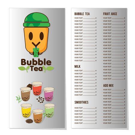 modèle graphique de menu de thé à bulles