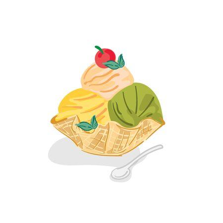 ice cream bingsu dessert drawing graphic object