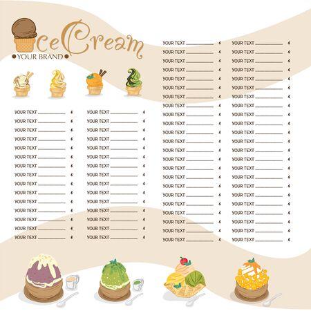 menu ice cream bingsu dessert template graphic restaurant-11 矢量图像