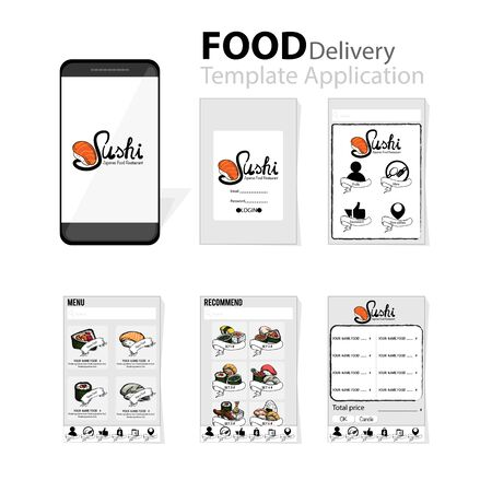 menu template application mobile sushi Japanese food delivery