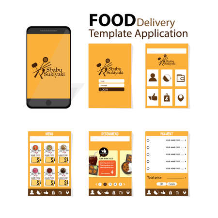 shabu  sukiyaki menu template application mobile japanese food delivery