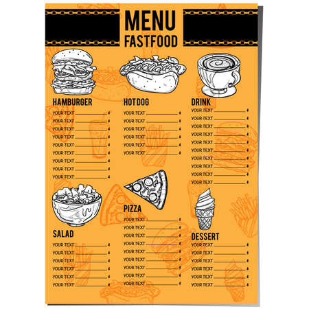 menu food restaurant template design hand drawing graphic. 向量圖像