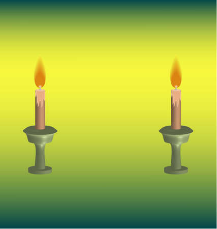 candlestick: Two candles burning Stock Photo