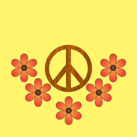 wooden peace sign on a yellow background with flowers