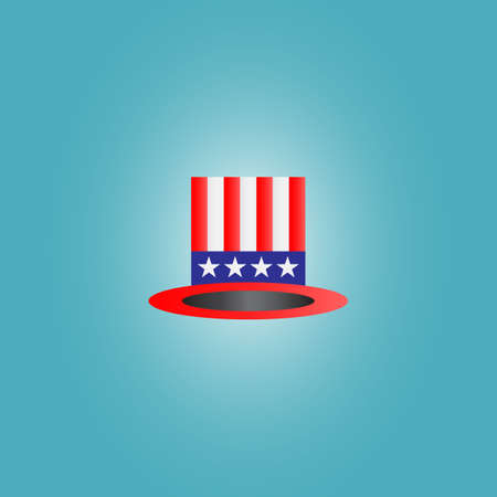 4th of july hat on a blue radial background Stock Photo