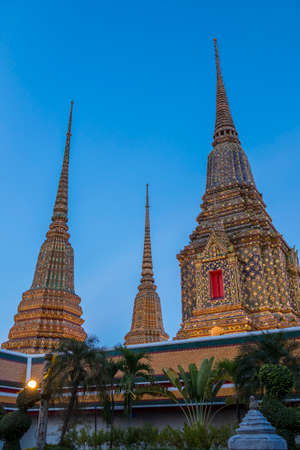 Chedis in Wat Pho, Temple of the Reclining Buddha in Bangkok, Thailand, Asia