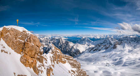 Summit cross on the Zugspitze (2962m), Germany's highest mountain, Bavaria, Germany, Europe