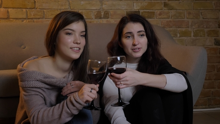 Closeup portrait of two young pretty women watching TV chilling with wine celebrsting and clinking sunglasses in a cozy apartment indoors