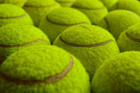 repetition: Photograph of numerous tennis balls in perspective view from above Stock Photo