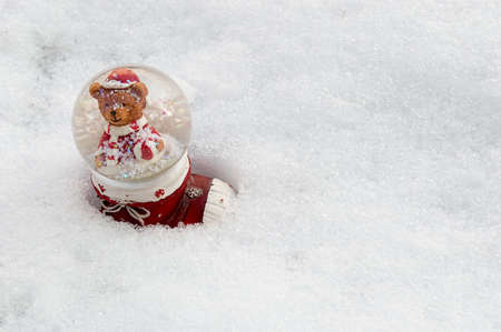 A cute bear in a real snow globe in a red winter boot in the snow white background for holyday