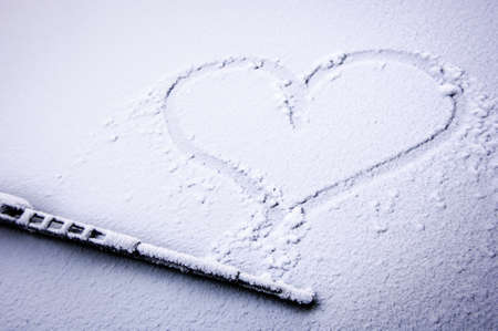 frozen windshield with heart - nice background photo