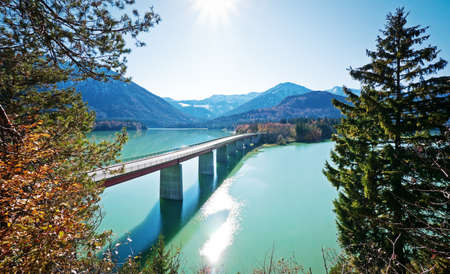 road bridge at the sylvenstein lake in germany photo