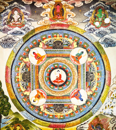 bouddhisme: historique magnifique mandala tib�tain
