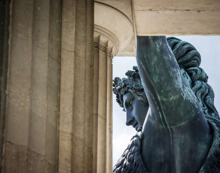 famous statue of bavaria at the theresienwiese in munich - germany Stock Photo