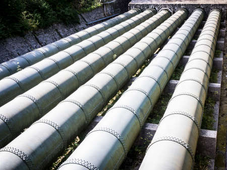 water pipeline at a valley in austria photo