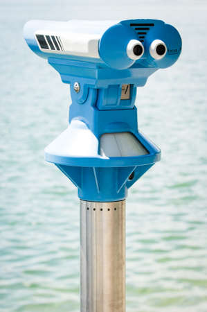 operated: coin operated binoculars at a observation point Stock Photo