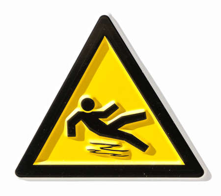 wet floor: caution wet floor sign at a sidewalk