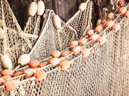 trawler net: fishing net at an old port Stock Photo