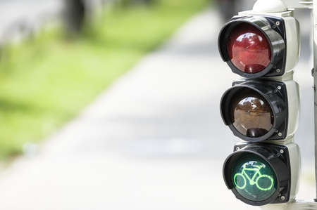 bikeway: traffic light for bikes  in germany Stock Photo