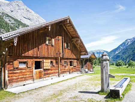 log cabin: old farmhouse at the karwendel mountain - austria