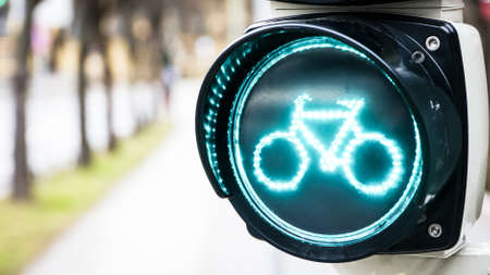 bicycle lane: traffic light for bikes  in germany Stock Photo