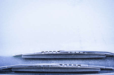 front window of a car in winter - space for text Stock Photo