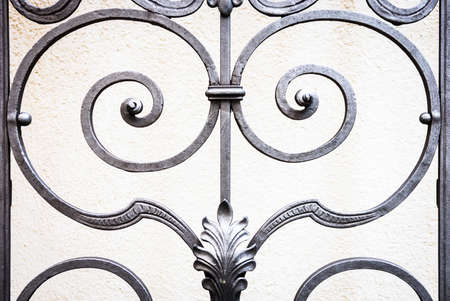 wrought: part of an old fence - close-up