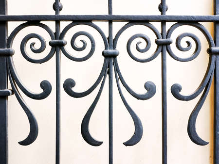 metaal: deel van een oud hek - close-up Stockfoto