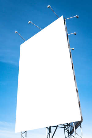 blank white billboard in front of blue sky Stock Photo - 17274365