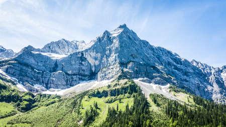 mountain range: karwendel mountains in summer - austria Stock Photo