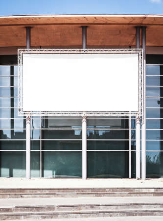 blank billboard: blank billboard at a modern building - nice background with space for text Stock Photo