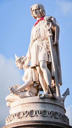 christopher columbus: famous antique statue of christopher columbus at genua italy